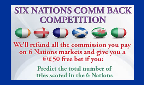 6 Nations COMM BACK & FREE BET Competition